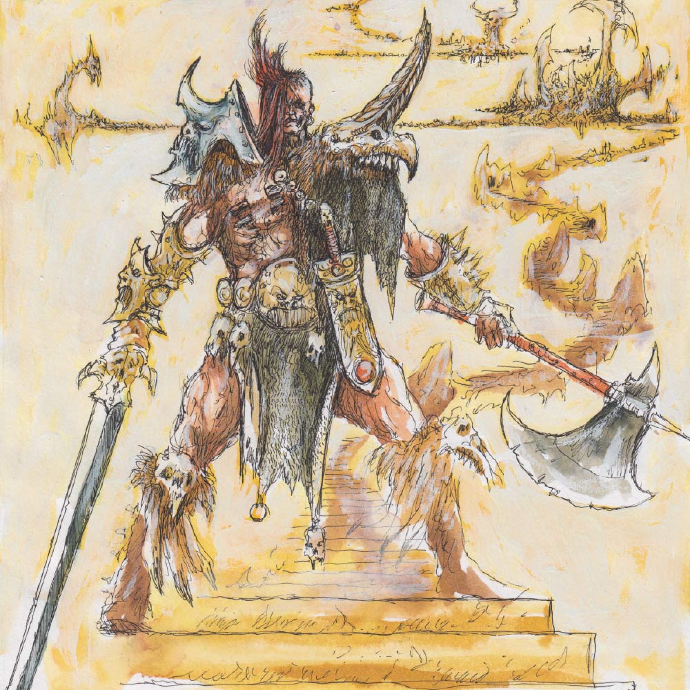 John's concept artwork for the Darkoath Chieftain. David followed John's design closely, even down to the knife on his cross belt and the skulls on his knees. David's only real deviation was the Chieftain's hairstyle, which he wanted to look more symmetrical, but still really brutal, like he'd shaved the sides of his head with a sharp stone.