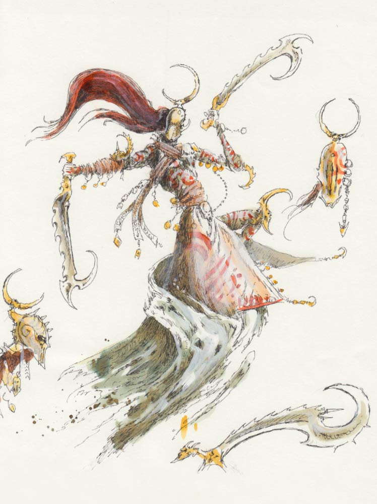 John's concept drawing for the Mistweaver Saih. As you can see, the original drawing has two serrated blades, but David sculpted the model with a staff to make her more mage-like. The swirling mist around her robes represents her emerging from a pall of smoke, the idea being that she's able to emerge from any shadow, anywhere.
