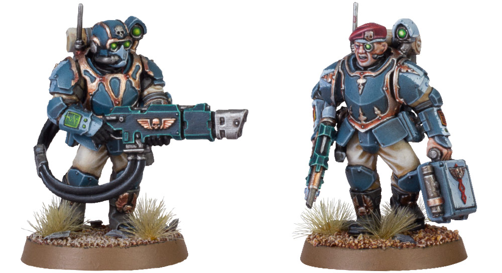 Tempestus Scion with Hot-shot Volley Gun; Tempestus Scion with Medi-pack