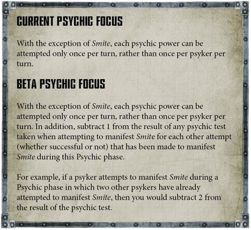 Psychic Powers - + BETA RULES + - The Bolter and Chainsword